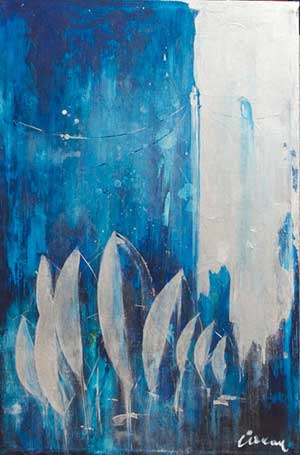 Blue Night - Contemporary Art Painting - Florin Coman