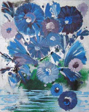 Blues Flowers - Contemporary Art Painting - Florin Coman