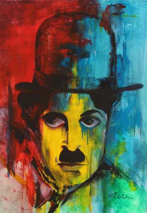Charlie Chaplin Portrait 1 - Contemporary Art Painting - Florin Coman