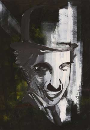 Charlie Chaplin Portrait 2 - Contemporary Art Painting - Florin Coman