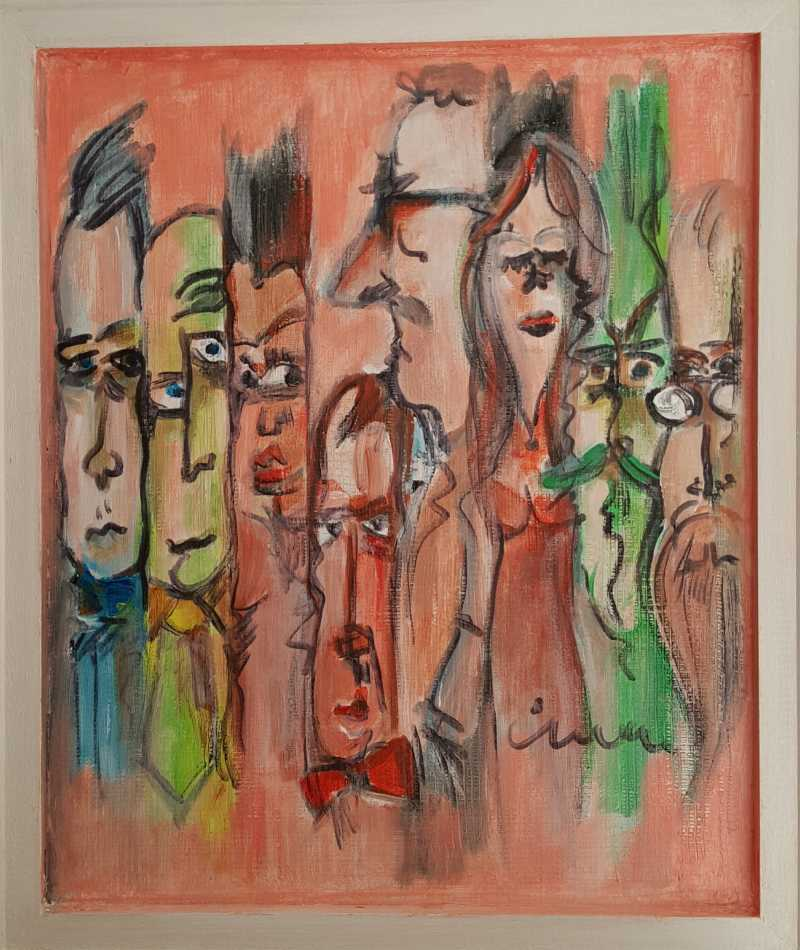 Crowd - Contemporary Art Painting - Florin Coman