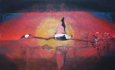 Flamingo - Contemporary Art Painting - Florin Coman