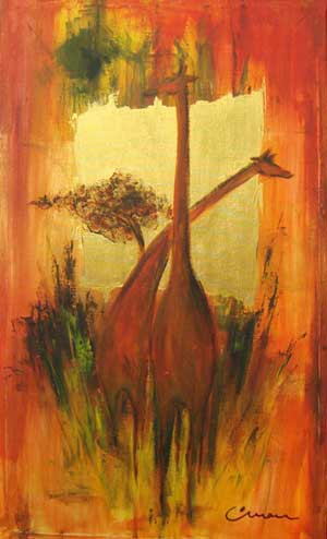 Golden Giraffe - Contemporary Art Painting - Florin Coman