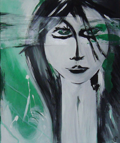 Green Eyes - Contemporary Art Painting - Florin Coman