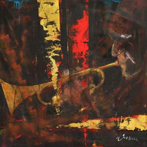 Jazz trumpet - Contemporary Art Painting - Florin Coman