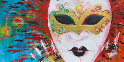 Venetian Mask - Contemporary Art Painting - Florin Coman
